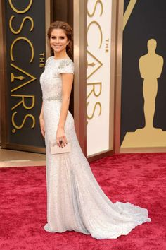 Maria Menounos wearing a Johanna Johnson dress - Academy Awards 2014 - red carpet style