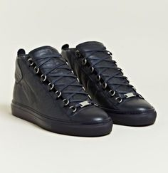 Balenciaga Arena Black All Black Sneakers, High Top Sneakers, Shoes Sneakers, Balenciaga Arena Sneakers, Hip Hop Instrumental, Mens Gear, All About Shoes, Mens Trainers, High End Fashion