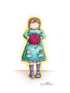 Little Miss Knittie 8x10 Art Print cute girl knitting crochet yarn