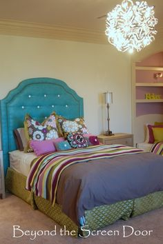 The lighting fixture is great for a teen bedroom - and the extra built-in cubby with mattress works as a sofa or a guest bed. Fun colors. Teen Girl's Bedroom | Beyond the Screen Door
