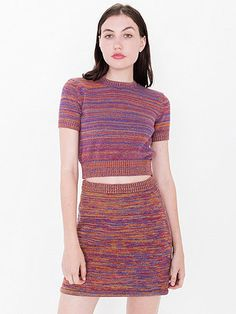 A multicolored knit skirt with A-line design and stretchy, ribbed waist.