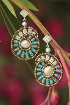 Ziio freshwater pearl and turquoise earrings at Earthworks of Los Altos
