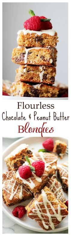 Flourless Chocolate Peanut Butter Blondies - Thick, chewy bars loaded with chocolate chips and peanut butter. They are also 120 calories per serving! Get the recipe on diethood.com
