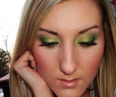 Spring Green Makeup Tutorial - MAC Painterly Paint Pot  NYX Jumbo eye shadow pencil: Lemon (green base)  MAC eye shadows:  Bitter  Bio Green (pro)  Juxt  Mylar  MAC Fluidline in Shade  MAC Plushlash Mascara  NARS Orgasm Blush  MAC Lipstick in Creme d' Nude  MAC Soft Wave lipglass