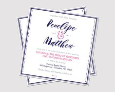 Printable Square Casual Wedding Invitation by LauraSchembre