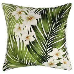 Outdoor Cushion Cover-Frangipani-60cm x 60cm-With Piping-Natural-Double Sided - Escape to Paradise