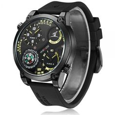 CURREN8194 Round Case Three-Subdial Date Display Quartz Men Wrist Watch Black &
