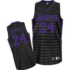 Kobe Bryant Swingman In Black/Grey Adidas NBA Los Angeles Lakers Groove #24 Men's Jersey