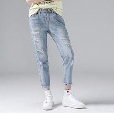UK Womens Drawstring Jeans Ladies Denim Pants Casual Distress Trousers Size 6-20