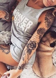 Vintage Realistic Rose Full Arm Sleeve Tattoo Ideas For Women in measurements 1000 X 1699 Women Full Sleeve Tattoo - Always consult with a knowledgeable Neue Tattoos, Body Art Tattoos, Girl Tattoos, Arm Sleeve Tattoos For Women, Tattoo Sleeve Designs, Women Sleeve, Female Tattoo Sleeve, Piercing Tattoo, Arm Tattoo