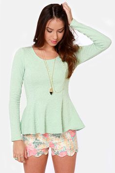 Sweeter Than Heaven Mint Green Peplum Top... This outfit just breaths spring!