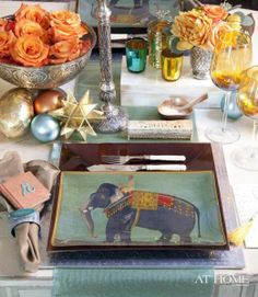 This India inspired setting is stunning.  I adore the mix of color and texture.