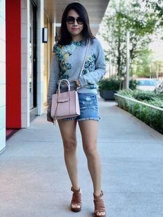 J Crew Floral Sweatshirt & Joe's High-waist Denim Shorts