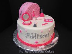 Make-up cake for a little girl.  All fondant and gumpaste.