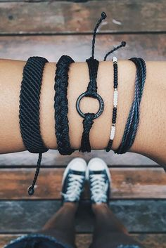This black bracelet stack is awesome!