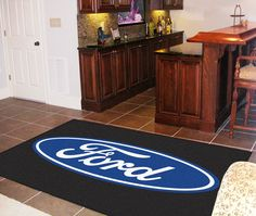Ford Oval Black Area Rug