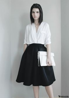 black flare pleated midi skirt style white blouse