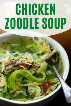 Chicken zoodle soup is so warm and comforting! We serve it all fall and winter and my kids gobble it up! It also reheats really well and makes a perfect lunch. #chickenzoodlesoup #lowcarbsoup Lunch Recipes, Soup Recipes, Keto Recipes, Breakfast Recipes, Chicken Recipes, Dinner Recipes, Keto Chicken, Sugar Free Recipes Healthy, Easy Healthy Meal Prep