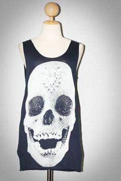 Crystal Diamond Skull Halloween Navy Blue Tank Top Sleeveless Women Art Punk Rock T-Shirt Size L