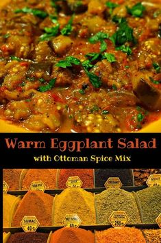 Warm Eggplant Salad with Ottoman Spice Mix - works well served by itself, as a topping for bread, or as part of a complete Turkish Mezze Platter Eggplant Zucchini, Eggplant Salad, Eggplant Recipes, Eggplant Parmesan, Turkish Mezze, Turkish Spices, Turkish Salad, Scottish Recipes, Turkish Recipes