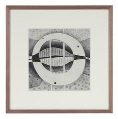 "86293- Jane Mitchell, 1980, Graphite on Paper Board, 18.5""x18.5"" Framed $595"