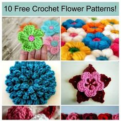 A college of crocheted flowers in different styles and different colors advertising free patterns for each