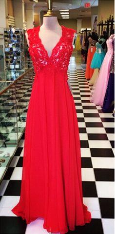 A Line Red Chiffon Prom Dresses V Neck