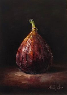 Still Life Fig Oil Painting by Nina R.Aide Original Fine Art Fruit Small Painting Traditional Classic Art Chiaroscuro