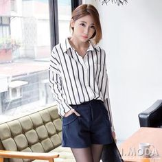 Black also – Long-Sleeve Dip-Back Striped Shirt' with Free International Shipping at YesStyle.com. Browse and shop for thousands of Asian fashion items from Taiwan and more!