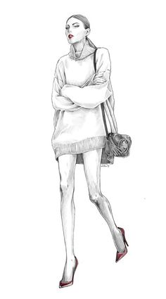 Kai Fine Art is an art website, shows painting and illustration works all over the world. Illustration Mode, Fashion Illustration Sketches, Fashion Sketches, Fashion Design Sketchbook, Fashion Design Drawings, Fashion Artwork, Art Sketchbook, Silhouette Mode, Human Figure Sketches