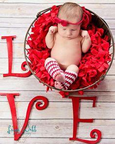Ready to Ship Crochet Newborn Baby Valentine Headband Legwarmer Set, Girl Photo Prop, Baby Shower Gift, Red. $24.99, via Etsy.