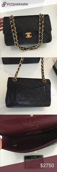 """Auth CHANEL double flap 2.55 Stunning 100% Authentic CHANEL Classic Black Lambskin Leather Double Flap 2.55 with gold hardware.  Made in France.  This bag is in  great preowned condition with the serial number intact.  This is the most sought after bag from CHANEL.  It will never go out of style.  The approximate length is 9.2"""", height is 6"""", and thd depth is 2.5"""" with a 16.5"""" shoulder drop.  Comes with the authenticity card and dust bag.  More photos available.  Better price if pick up at…"""