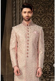 Wedding Sherwani-Blush Pink-Zari Work-SH219
