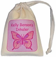 Personalised - Butterfly Asthma Inhaler bag - TINY cotton drawstring bag - EMPTY