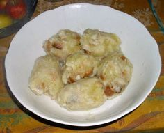 knedlíky ze syrových brambor Czech Recipes, Dumplings, Gnocchi, Shrimp, Czech Food, Pierogi, Pizza, Meat, Chicken