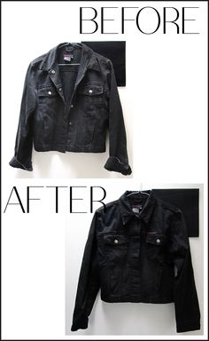 freshen up your fav jean jacket for a 'new' look on a cold day. New Look, That Look, Cold Day, Restore, Leather Jacket, Chic, Jackets, Stuff To Buy, Black