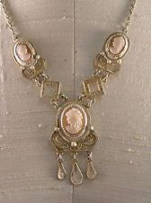 Vintage Italian 800 Silver Filigree & 3 Beauties Cameo Elaborate Necklace 1950s- Lorie's necklace.