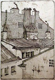 Rooftops - Mstislav Dobuzhinsky
