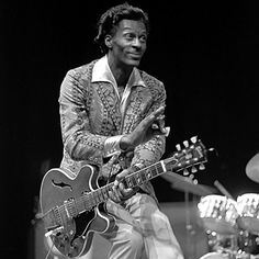 """The master blaster. Chuck Berry was so ahead of his time, he had to look backwards to see in front of him.  He is the progenitor, one of the actual creators of Rock N Roll.  John Lennon once said """"If Rock N Roll had a different name, it would be Chuck Berry""""."""