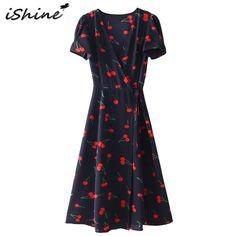 43e1b18558 Buy Summer 2018 Sweet Women Floral Printed A-line Dress Short Sleeve Cross V  Neck Tie Waist Wrap Dresses Midi vestido .
