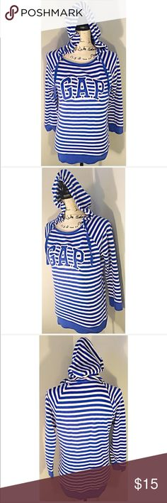 Striped Gap Hoodie Perfect hoody for Spring 💙 Striped GAP Sweatshirt 💙Size M. Excellent condition.  Make this ☝🏾️treasure yours today ☺️. Don't be scared  to make an offer, you never know unless you try. Bundle multiple items for the best savings. Pay one low price  shipping 🎁! Thanks for stepping into my closet  😘 GAP Tops Sweatshirts & Hoodies