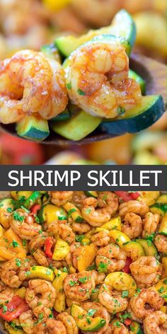 And Zucchini Skillet This Easy Shrimp And Vegetable Skillet Makes A Healthy Quick And Delicious Dinner Packed With Wild Caught Shrimp Tender Zucchini And Sweet Bell Peppe. Shrimp Recipes Easy, Fish Recipes, Healthy Dinner Recipes, Cooking Recipes, Medeteranian Recipes, Healthy Shrimp Scampi, Shrimp Recipes For Dinner, Healthy Vegetable Recipes, Salads
