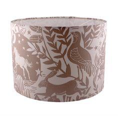 Woodland animal fabric lampshade Westonbirt by Lazysusanmakes