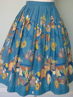 1950s Novelty Car Print Cotton Skirt // Woman in Funny Hats