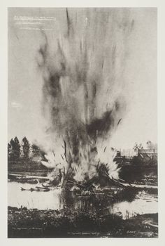 Tacita Dean, 'Die Explosion in dem Kanal' 2001          |||   'Die Explosion in dem Kanal' belongs to a portfolio of twenty black and white photogravures with etching collectively entitled 'The Russian Ending'. <...> Each image in the portfolio is derived from a postcard collected by the artist in her visits to European flea markets. Most of the images depict accidents and disasters, both man-made and natural.
