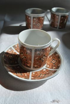 'Batik' Print effect Ceramic Espresso / Greek / Turkish Coffee Set  £55 (inc UK Postage)