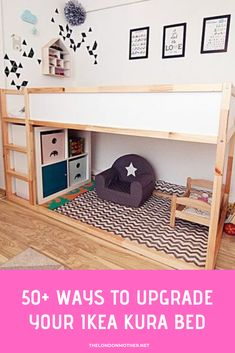 The IKEA KURA bed is a fab buy for kids rooms. Be inspired with these more than 50 ideas on how to jazz it up. Ikea Kids Bedroom, Kid Bedrooms, Childs Bedroom, Boy Rooms, Small Room Bedroom, Lego Bedroom, Ikea Beds For Kids, Bed Ideas For Kids, Ikea Loft Bed Hack