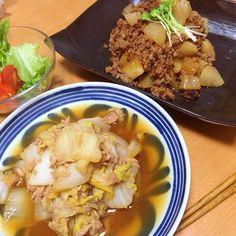 *晩ごはん* ・白菜とツナの旨煮 ・大根と挽肉のトロ煮  やさい便で取り寄せたお野菜を着々と消費中。 美味しい。