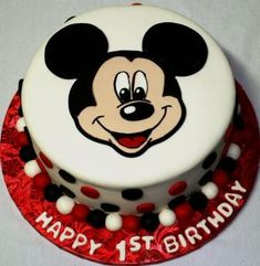 Mickey Mouse Face Round 1st Birthday Cake | by Jeanne AJ's Moonlight Bakery