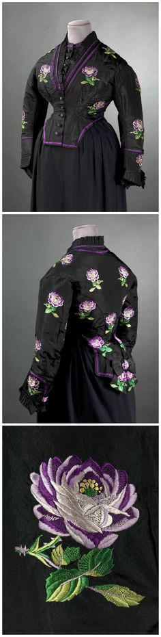 Bodice of transformation dress, said to have belonged to Empress Eugénie, circa 1873. Collection of Palais Galliera, musée de la Mode de la Ville de Paris. Black silk taffeta brocaded with silk roses in various tones of purple, green and yellow, purple silk taffeta bias, fluted black silk ribbon. Victorian Dresses, Victorian Era, Victorian Fashion, Vintage Fashion, 1800s Clothing, Antique Clothing, Historical Clothing, Palais Galliera, 1870s Fashion